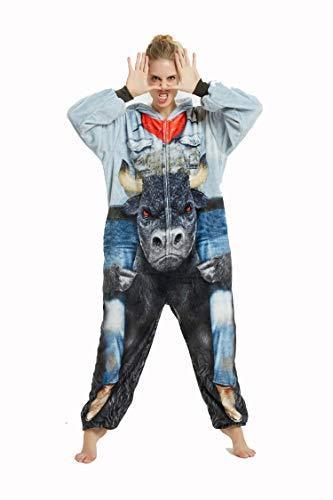 FMDD Tier Cosplay Kostüm Einhorn Cosplay Kostüm Onesie Pyjamas Erwachsene Halloween Cosplay Kostüm (Minotaurus, M(Höhe 158-167 cm))