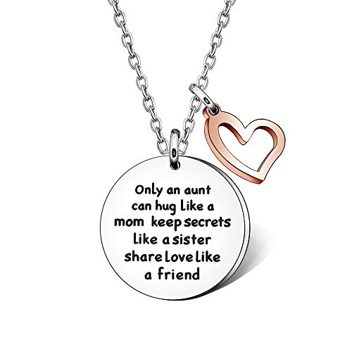 Aunt Auntie Necklace Jewellery for Women'Only an Aunt Can Hug Like A Mom Keep Secrets Like A Sister Share Love Like A Friend' Lettering Necklace
