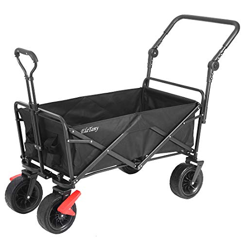 Elatany Heavy Duty Folding Outdoor Collapsible Utility Wagon Cart with Brake Function Big Wheels for Grocery Beach Black 176lbs Loading Capacity
