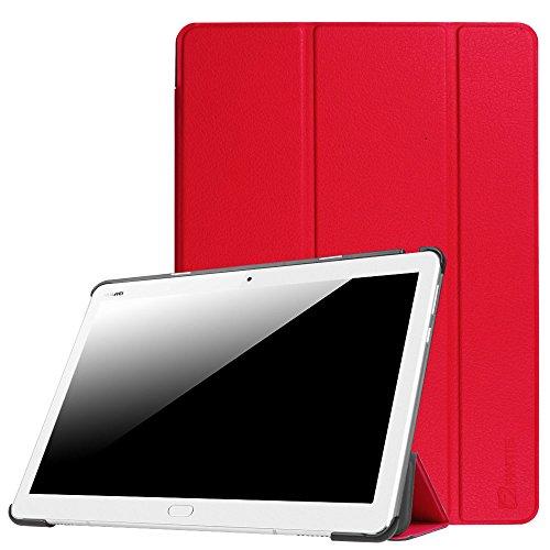 Fintie Huawei Mediapad M3 Lite 10 Hülle - Ultra Dünn Superleicht SlimShell Case Cover Schutzhülle Etui Tasche mit Zwei Einstellbarem Standfunktion für Huawei Mediapad M3 Lite 10 Zoll, Rot