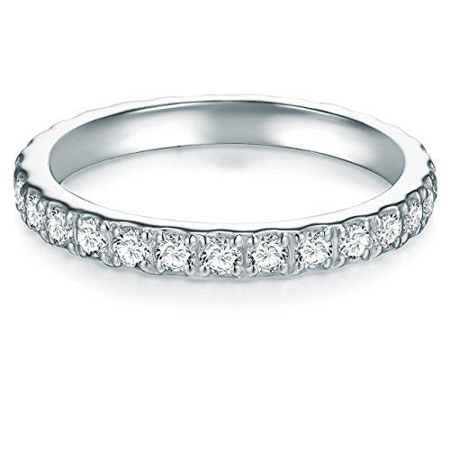 Tresor 1934 Damen Memoirering Sterling Silber Zirkonia weiß Brillantschliff - Verlobungsring Silberring Damen Antragsring