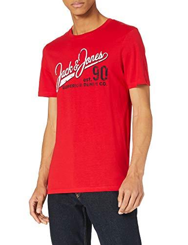 JACK & JONES Herren JJELOGO Tee SS O-Neck 2 COL SS21 NOOS T-Shirt, True Red/Fit:Slim FIT, M