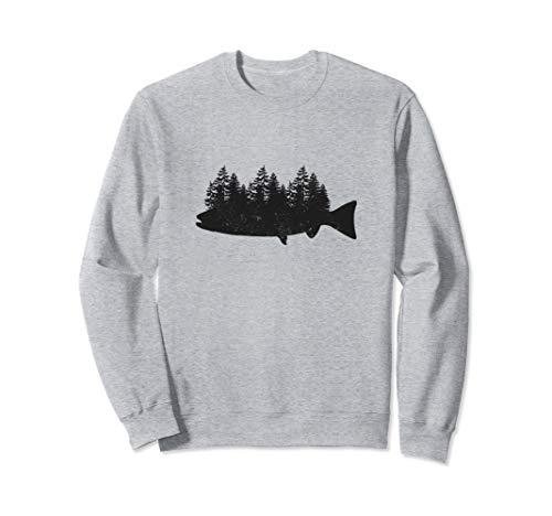 Fischen Hemd für Manner Geschenke Vati Onkel Fish and Forest Sweatshirt