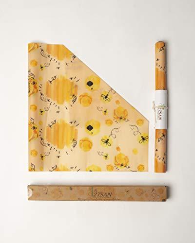 27SAN Premium Qualität Bienenwachs Rolle 100 x 33 cm Wiederverwendbare Frischhaltefolie Bees Wraps Nachhaltiges Bienenwachstuch Beeswax Wrap Wachspapier Bio Bienenwachstücher für Lebensmittel