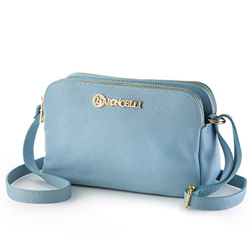 100% Italian Leather Handbags for Women/Exquisite Collection of Classic Cross- Body Bags (Light Blue)