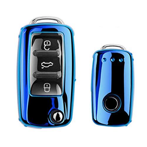 TMAAORS Funda de TPU para llave de coche, cubierta completa, para VW Volkswagen Polo Golf Passat Beetle Caddy T5 Up Eos Tiguan Skoda A5 SEAT Leon Altea