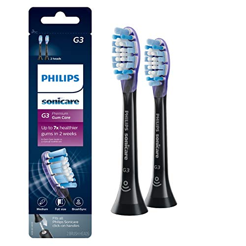Genuine Philips Sonicare G3 Premium Gum Care Toothbrush Head, HX9052/95, 2-pk, Black