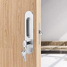 Fdit Zinc Alloy Sliding Door Locks Invisible Door Lock with 3 Keys Slide Door Locks Furniture Hardware Latch for Bathroom Closet Kitchen Balcony(Silver)