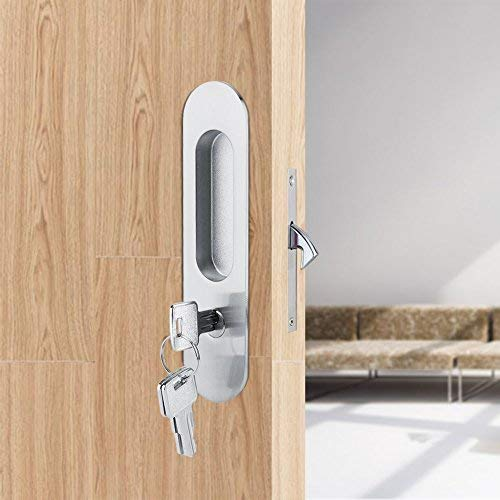 Fdit Zinc Alloy Sliding Door Locks Invisible Door Lock with 3 Keys Slide Door Locks Furniture Hardware Latch for Bathroom Closet Kitchen Balcony(Silver)