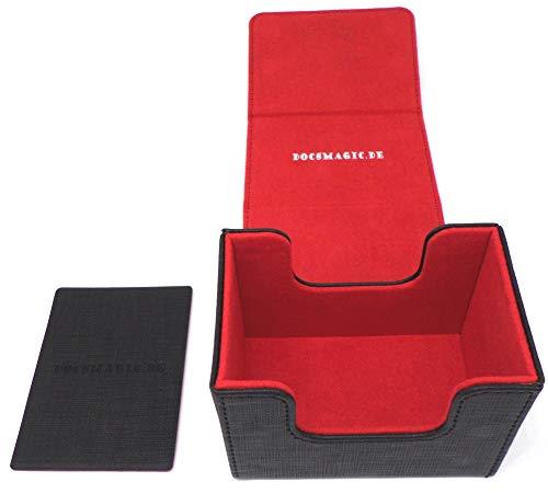 docsmagic.de Premium Magnetic Sideflip Box 80 Black/Red + Deck Divider - MTG - PKM - YGO - Caja Negra/Roja