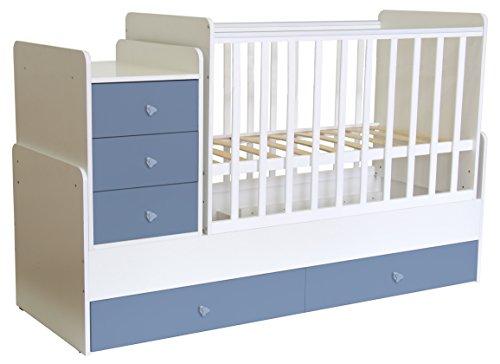 Polini Kids mitwachsendes Kombi-Kinderbett Gitterbett Babybett mit integrierter Wickelkommode und Wippfunktion: 60 x 120 cm oder 60 x 170 cm Matratzenmaß. Aus Birkenholz und MFC-Spannplatte. Weiß-Blau