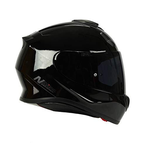 Nitro N3100 UNO - Casco integral para motocicleta, color negro brillante.