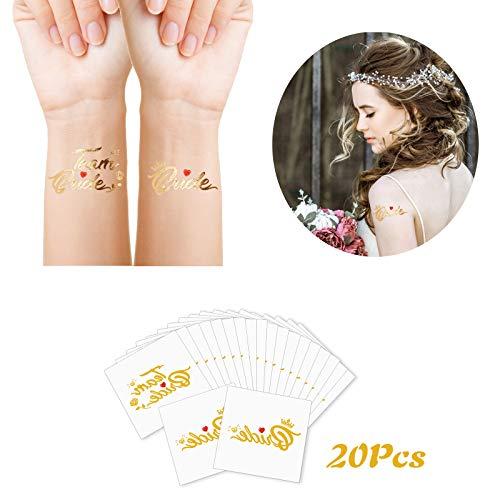 ZERHOK Despedida de Soltera Tatuajes 20 hojas Tatuaje Temporal Boda Pegatina de Equipo Novia Team Bride Tattoo Regalo para Dama de Honor Bautizo de Novia