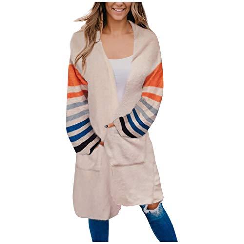 DNOQN Mantel Parka Hoodie Oversize Kurzmantel Mode Frau Beiläufig Solide V-Ausschnitt Streifen Tasche Lange Ärmel Sweatshirt Mantel Tops