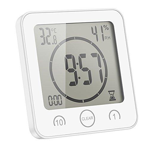 CAMPSLE Reloj de Ducha Resistente al Agua, Temporizador de Reloj de Ducha Digital LCD con Alarma, Reloj de baño con Ventosa, Pantalla de Temperatura y Humedad, 3 métodos de Montaje