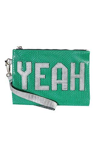 Circus by Sam Edelman Womens Deny Snake Skin Wristlet Handbag Green Small