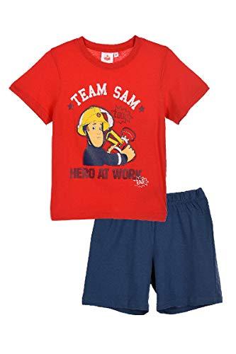 Feuerwerhmann Sam - Pijama corto para niño rojo Tamaño de la cintura:100-105 cm