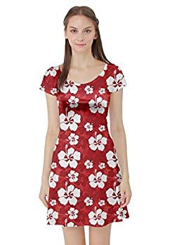 CowCow Red Pattern with Hibiscus Flowers on Red Short Sleeve Skater Dress Red-3XL