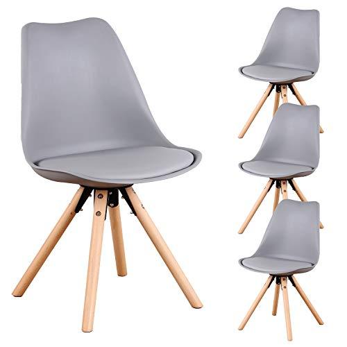 N / A MUEBLES HOME - Juego de 4 sillas de comedor, estilo moderno, ensambladas, diseño de silla tipo concha, con patas de madera y respaldo, cojín suave, para comedor, dormitorio, sala de esta