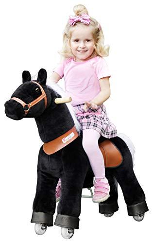Ponycycle Black Beauty - Schaukelpferd - Kuscheltier auf Rollen - Inline - Kinder - Pony - Pferd - Reiten - Plüschtier - MyPony (N-Serie Modell 2019 Small)