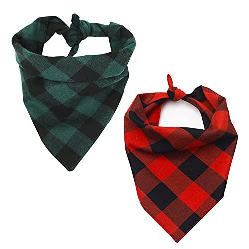 VIVOTE Pañuelos para Perros de Algodón a Cuadros Bandanas de Mascotas Reversible Lavable Triángulo Baberos Bufandas para Pequeño Mediano Grande Perro Gato 2 Piezas 70×47.5×47.5cm Rojo+Verde