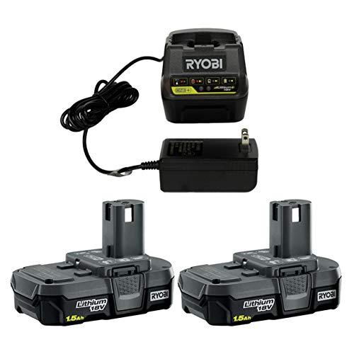 Ryobi P118B 18V Battery Charger & (2) Ryobi P189 18V 1.5 Ah Battery Packs