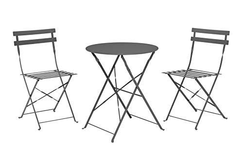 Spetebo Juego de 2 sillas plegables y mesa plegable, color antracita, de metal, para balcón