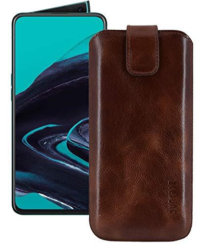 Suncase ECHT Ledertasche Leder Etui *Slim-Edition* kompatibel mit Oppo Reno 2 (mit Rückzugsfunktion und Magnetverschluss) Rustik-Tabak braun