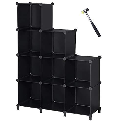 ANWBROAD 9-Cubos Organizador de Almacenamiento Armario de Bricolaje Estantería Plástica Modular de Almacenamiento Martillo para Hogar Dormitorio Oficina Sala Negro LCS009B