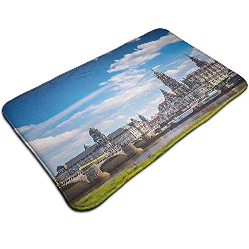 Ancient Town Dresden Old German Architecture Historical European Scenery Image 36 x 24in, Extra Soft and Absorbent Rugs, Machine Wash Dry, Perfect Plush Carpet Mats for Tub, Shower,and Bath Room