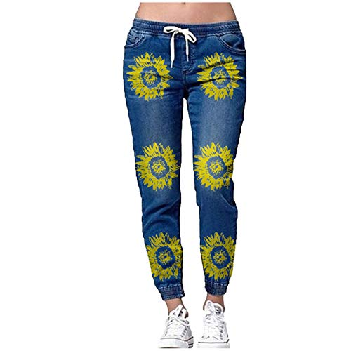 SSMENG Womens Distressed Denim Joggers Elastic Waist Stretch Pants with Drawstring Sunflower Print Pocket Hole Jeans