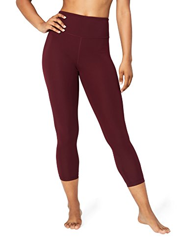 "Amazon-Marke: Core 10 Damen 7/8-Leggings ""Spectrum"" für Yoga, hohe Taille, 61cm, (XS-3X), Rot (merlot), US M (EU M - L)"