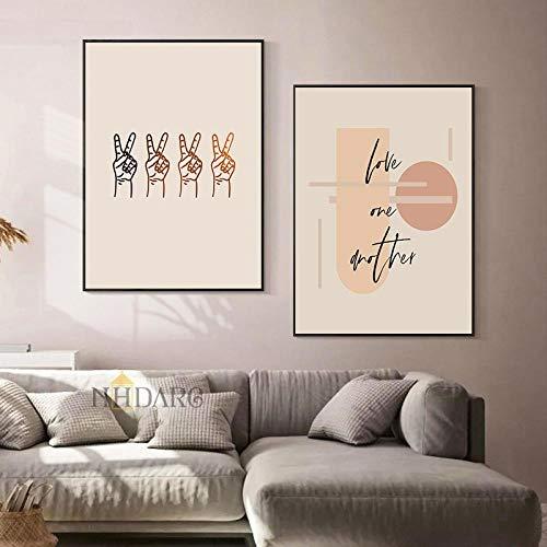 Marrón Morandi Pintura Abstracta de la Lona Cartel de la Victoria del Dedo Humano Impresión del Arte escandinavo Imagen de la Pared Decoración Moderna del hogar 50x70cm Sin Marco