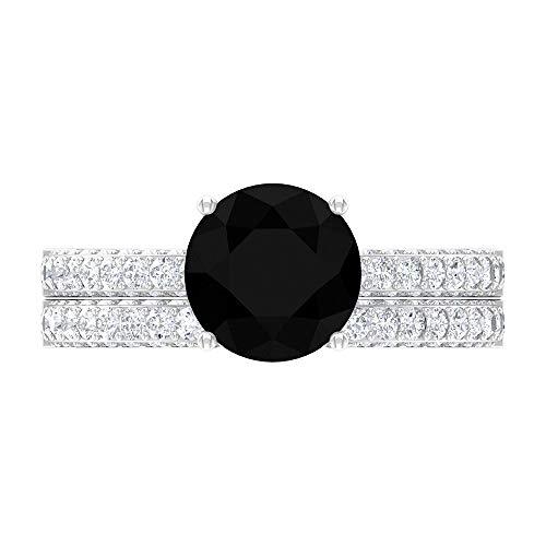 Juego de anillos de boda, anillo de ajuste francés, anillo de boda de eternidad de Moissanita de oro blanco de 14 quilates negro