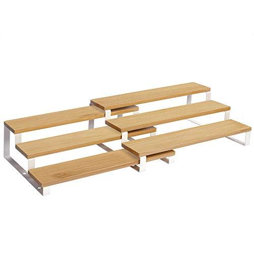 SONGMICS Gewürzregale, Küchenregale, 2er Set, mit je 3 Ablagen, Bambus, ausziehbar, stapelbar, für Speisekammer, Küche, Arbeitsplatte, naturfarben-weiß KCS016N02