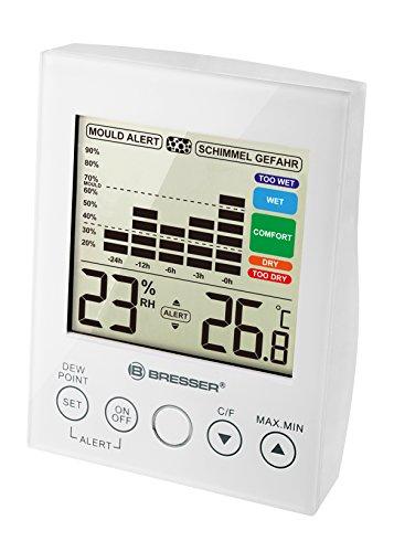 Bresser digitales Hygro-/Thermometer (mit Historienwerte bis zu 24 Stunden, Touchbedienfeld und Schimmelalarm) weiß