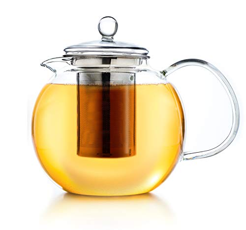 Creano Teekanne aus Glas 1,7l, 3-teilige Glasteekanne mit integriertem Edelstahl Sieb und Glasdeckel, ideal zur Zubereitung von losen Tees, tropffrei, All-in-one