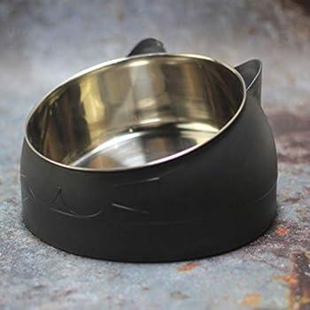 Gamelle inclinée pour chat, 400 ml en acier inoxydable avec base antidérapante pour chat et chiot (Noir)