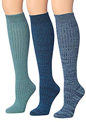 Tipi Toe Women's 3-Pairs Ribbed Cable Knee High Wool-Blend Boot Socks, (sock size 9-11) Fits shoe size 6-9, WK02-C