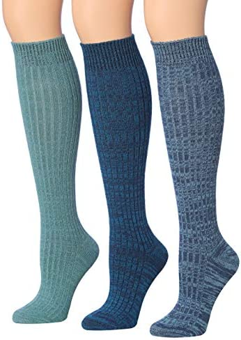 Tipi Toe Women s 3 Pairs Ribbed Cable Knee High Wool Blend Boot Socks sock size 9 11 Fits shoe product image