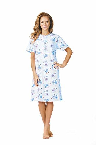 Comtessa Damen Nachthemd Knopfleiste Farbe: Bleu Gr. 44/46
