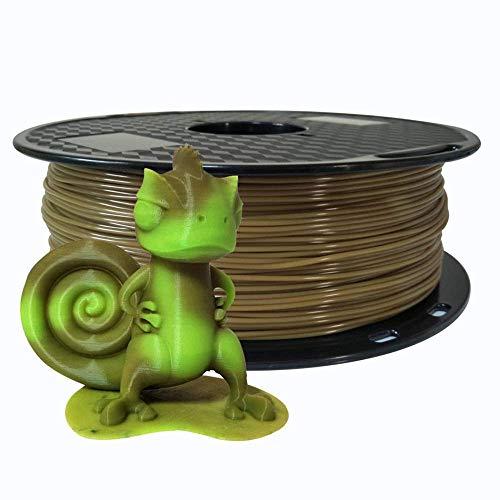 Filamento para impresora 3D, filamento PLA de 1,75 mm, material térmico que cambia de color, marrón a verde, bobina de 1 kg