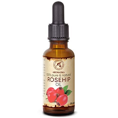 Olio di Rosa Canina 30ml - Rosa Canina Fruit Oil - Cile - Naturale e Puro al 100% - Cura Intensiva per Viso - Corpo e Capelli - Uso Puro - Bellezza - Relax - Massaggi - Ingredienti di Qualità