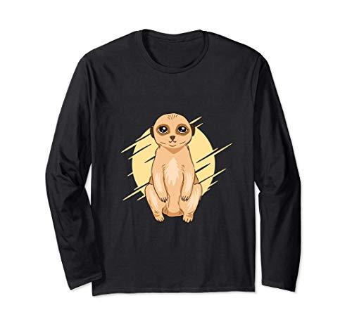 Lindo diseño animal con una ilustración de un suricato bebé Manga Larga