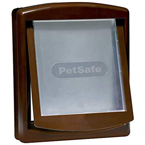 PetSafe – Puerta para Perros y Gatos Original Staywell con 2 Posiciones - Entrada y salida - Puerta para Mascotas. Panel de cierre incluido - Marrón (L)