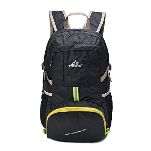 TOFINE Portable Backpack Large Travel Light Weight Foldable Waterproof Backpack Camping Hiking Gear 35L for Adult Men and Women Black