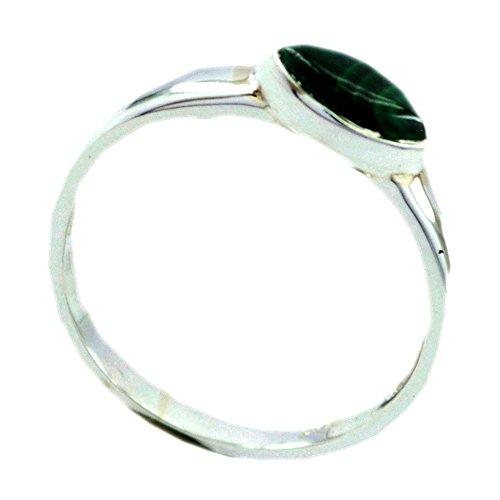 Jewelryonclick Echtes Malachit Sterling Silber Erklärung Ringe Für Frauen Modeschmuck Geschenk Größe 57 (18.1)