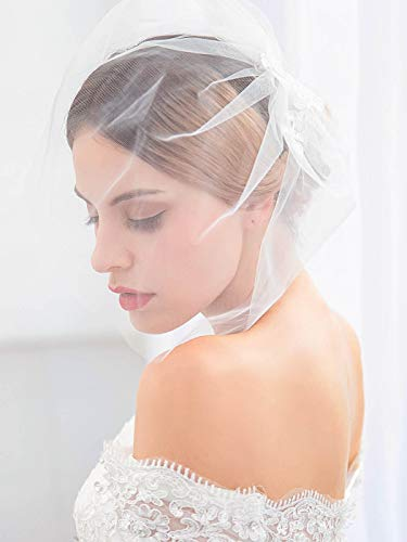 Barogirl Bride Wedding Birdcage Veil Short White Lace Bridal Veil with Comb for Women (White)