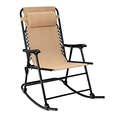 Flamaker Patio Rocking Chair Zero Gravity Chair Outdoor Folding Recliner Foldable Lounge Chair Outdoor Pool Chair for Patio, Poolside and Camping (Beige)