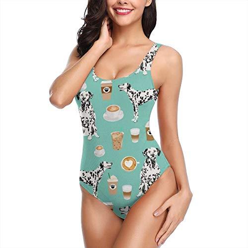 Women's U Neck High Cut Low Back Halter One Piece Monokini Swimsuit,Dalmatians Cute Mint Coffee Best Dalmatian Dog - L